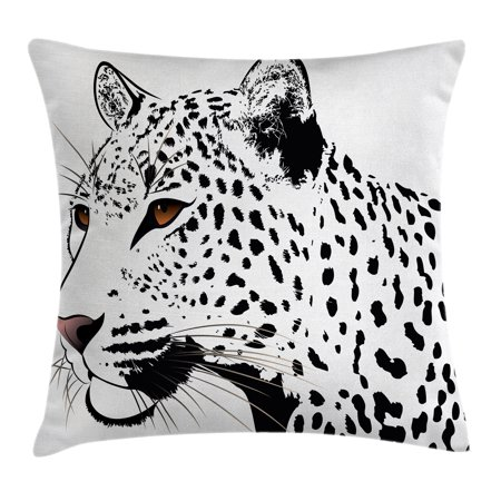 Tattoo Decor Throw Pillow Cushion Cover, The Head of Magnificent Rare White Tiger with Ocean Blue Eyes Image, Decorative Square Accent Pillow Case, 16 X 16 Inches, White Black and Blue, by (Images Of Black People With Blue Eyes)