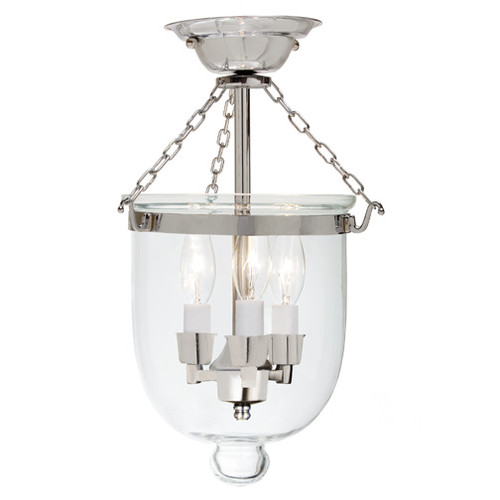 JV Imports JVI Designs 3-Light Small Bell Jar Semi Flush ...