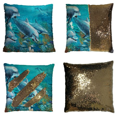 GCKG Ocean Animal Pillowcase, Underwater World with Dolphins and Coral Reef Reversible Mermaid Sequin Pillow Case Home Decor Cushion Cover 16x16 inches