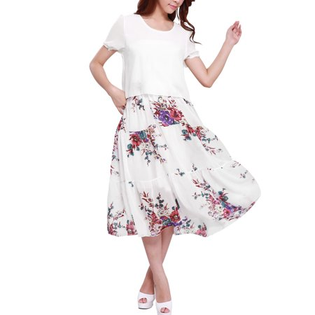 Allegra K Womens Pullover Short Sleeve Floral Prints Peasant Style Dress White  Size L   12