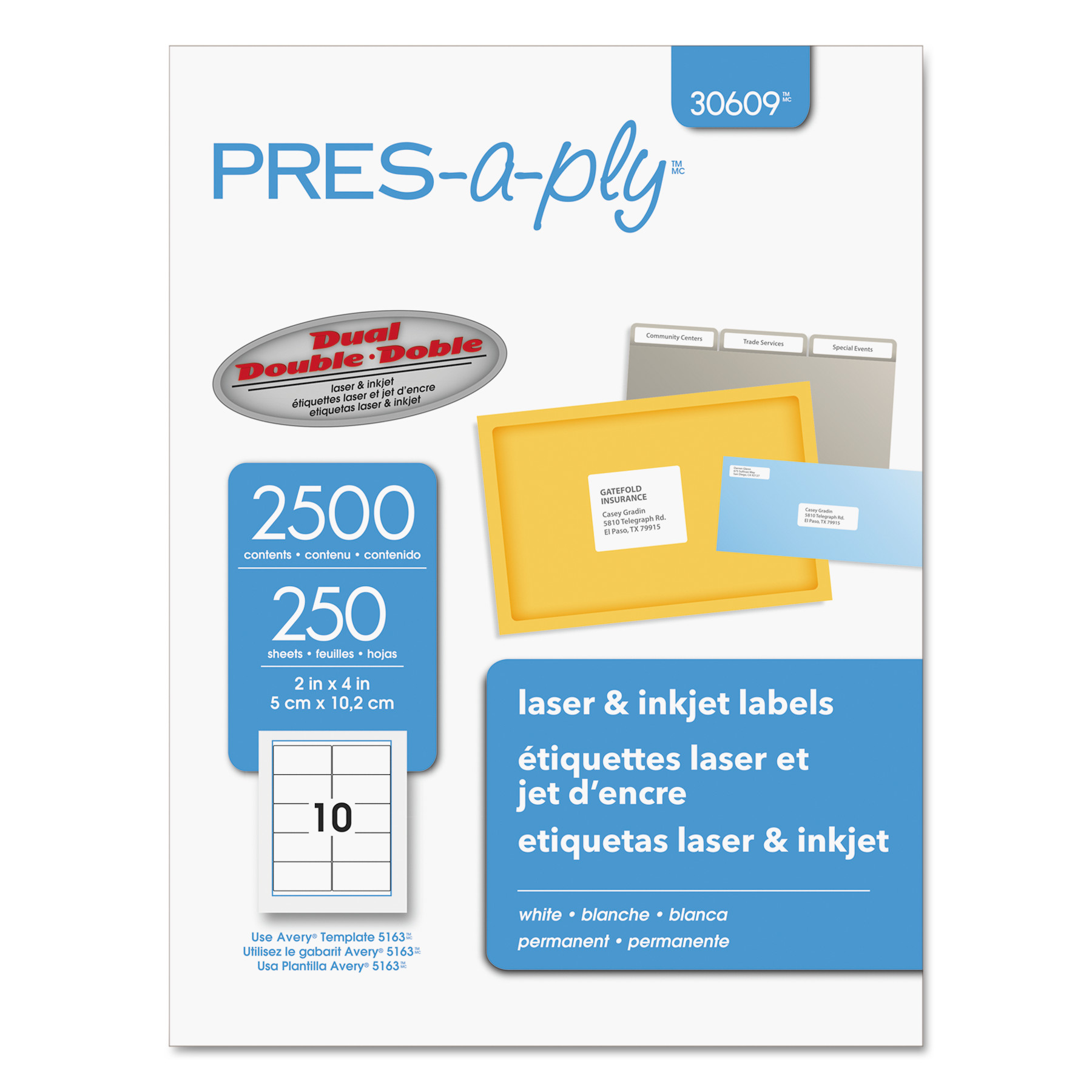 PRES-a-ply Laser Shipping Labels, 2 x 4, White, 2500/Box -AVE30609