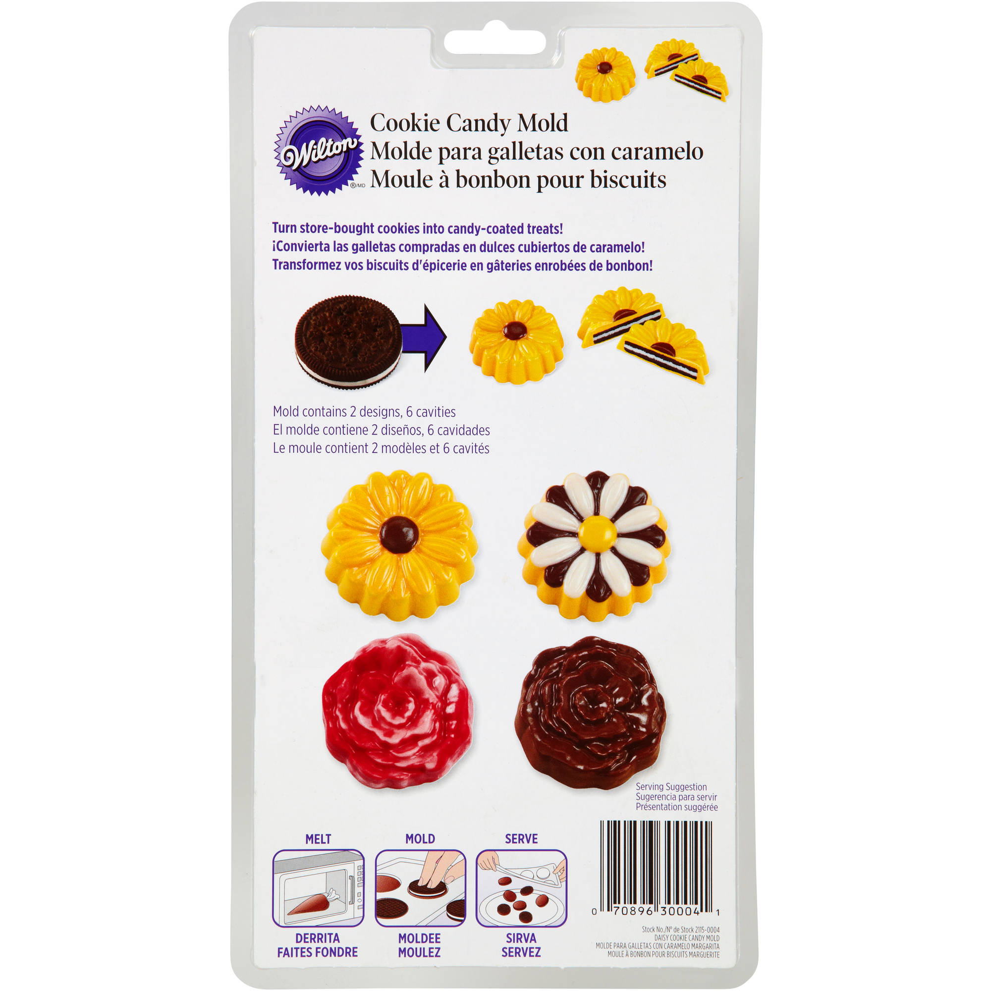 Wilton 6-Cavity Cookie & Candy Mold, Daisy & Rose 2 Designs 2115-0004