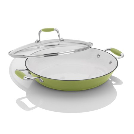 Michelle B. by Fagor Cast Iron Lite Chef's Pan with Lid, Lemon Lime, 12