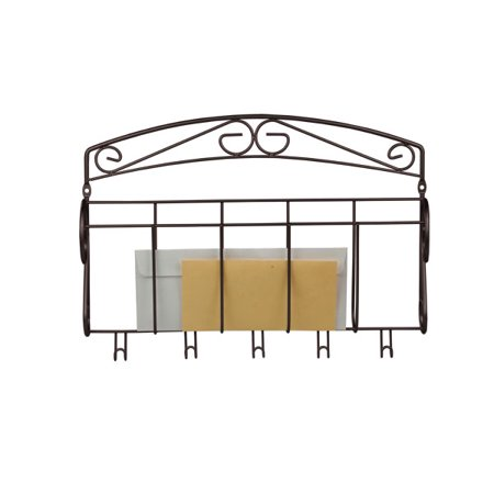 Scroll Collection Steel Letter Rack with Key Hooks Bronze