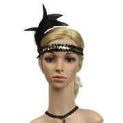 iLH Flapper Feather Headband 1920s Accessories Crystal Beaded Wedding Headpiece