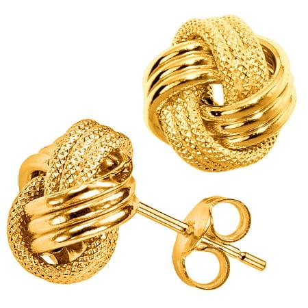 10k Yellow Gold Shiny And Textured Triple Row Love Knot Stud Earrings, - Three Row Studs