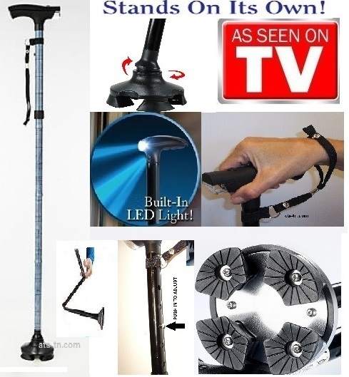 4 Feet Stand-Up Cane - Hurry Before They Are Gone - Adjustable - Foldable - With LED Light