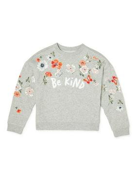 Wonder Nation Girls 4-18 & Plus Crew Neck Embellished Pullover Sweatshirt
