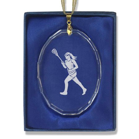 Oval Crystal Christmas Ornament - Lacrosse Player Woman ()