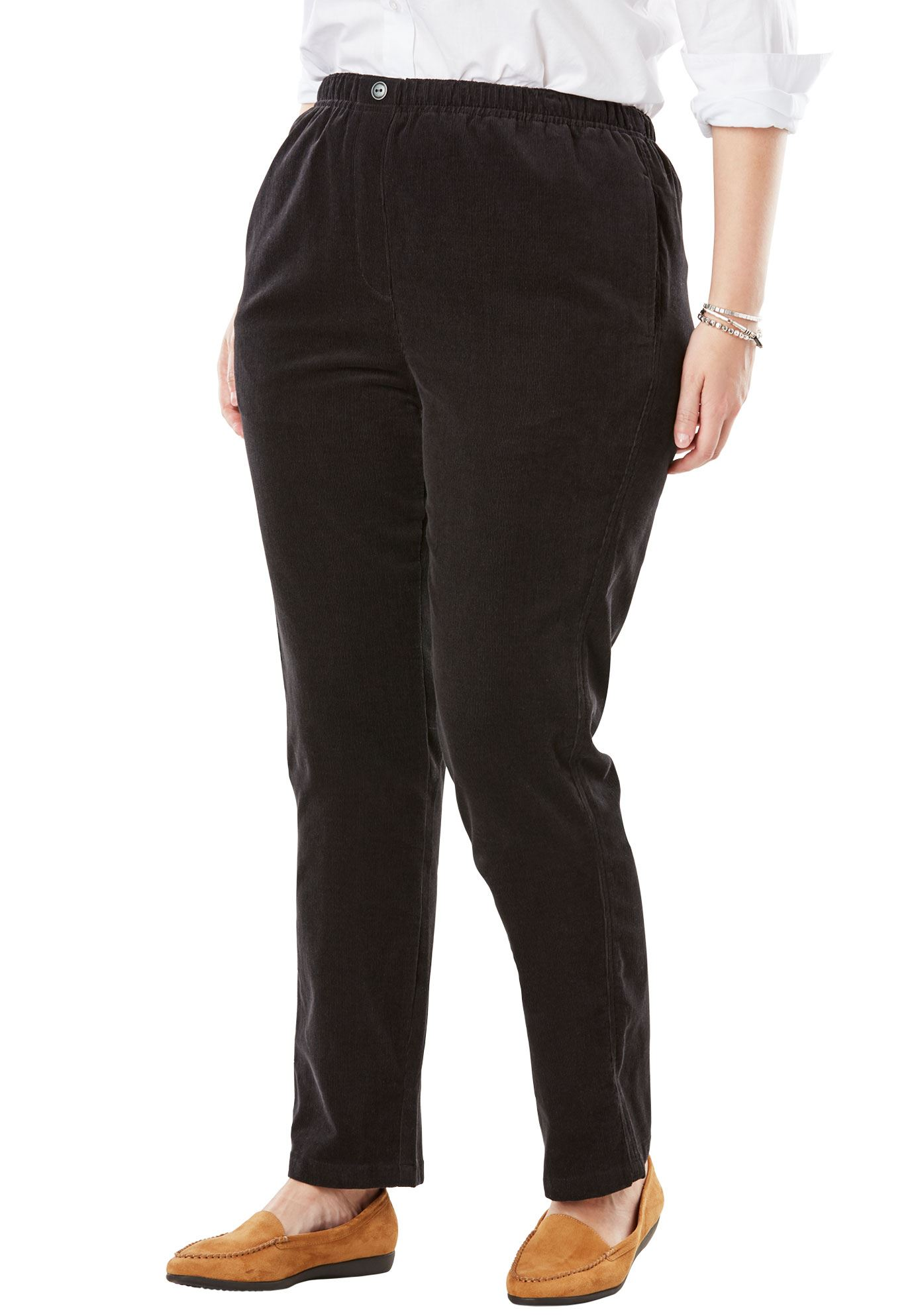 Woman Within Plus Size Petite Comfort Waist Straight Leg Corduroy Pant