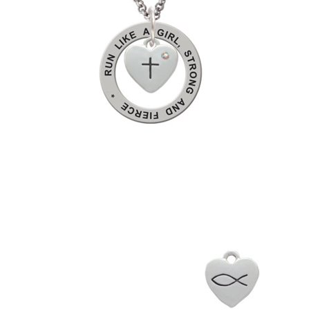 - Silvertone Small Heart with Cross & Fish with Crystal Run Like A Girl Affirmation Ring Necklace