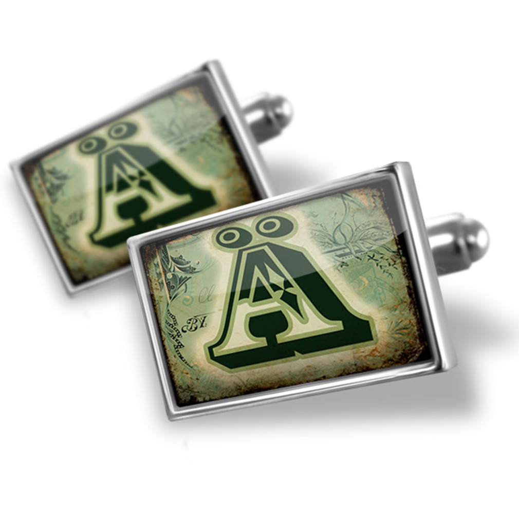 Cufflinks Ä Vintage circus characters, old green letter - NEONBLOND