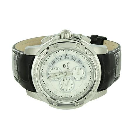 Genuine Diamond Watch Black Leather Band Aqua Master Stainless Steel