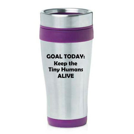 16 oz Insulated Stainless Steel Travel Mug Keep The Tiny Humans Alive Funny Teacher Nurse Pediatrics Gift (Purple) ()