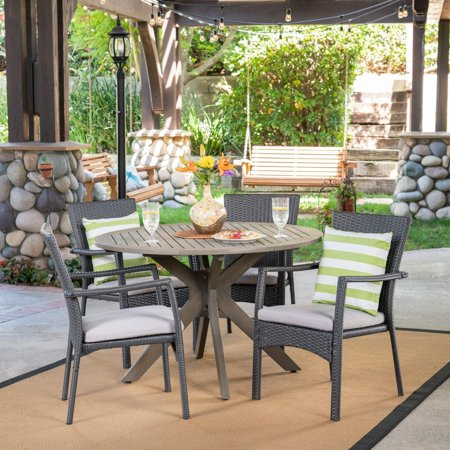 Christopher Knight Home Stamford Outdoor 5 Piece PE Wicker Dining Set with Circular Table by