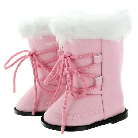 Pink Doll Shoes - Doll Shoes - Snow Light Pink Boots Fits American Girl & Other 18