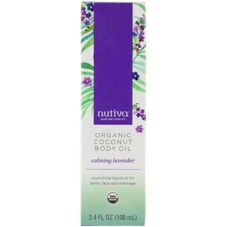 Nutiva  Organic Coconut Body Oil  Calming Lavender  3 4 fl oz  100 ml Coconut Perfume Body Oil