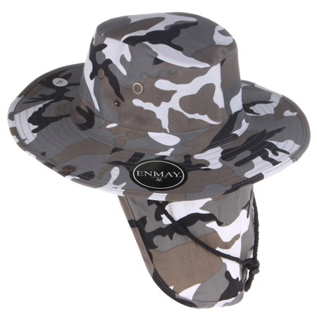 6be1ba7d Enimay Outdoor Hiking Fishing Snap Brim Hat With Neck Flap Black White Camo  Large - Walmart.com