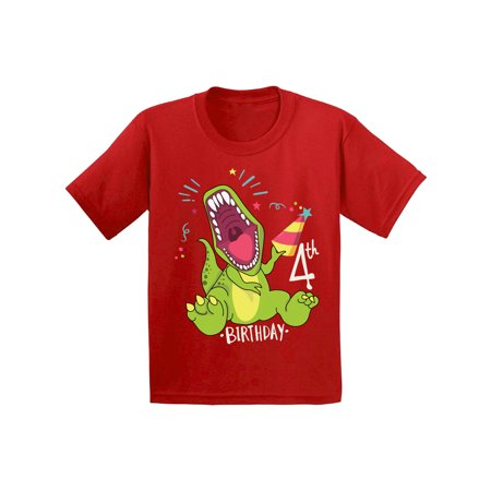 Awkward Styles Dinosaur Birthday Shirt for 4 Year Old 4th Birthday Party Shirt Dinosaur Gifts for Kids Dinosaur Themed Birthday Party 4th Birthday Boy Shirt Gifts for 4 Year Old Birthday Girl (Best Birthday Gift For 18 Year Girl)