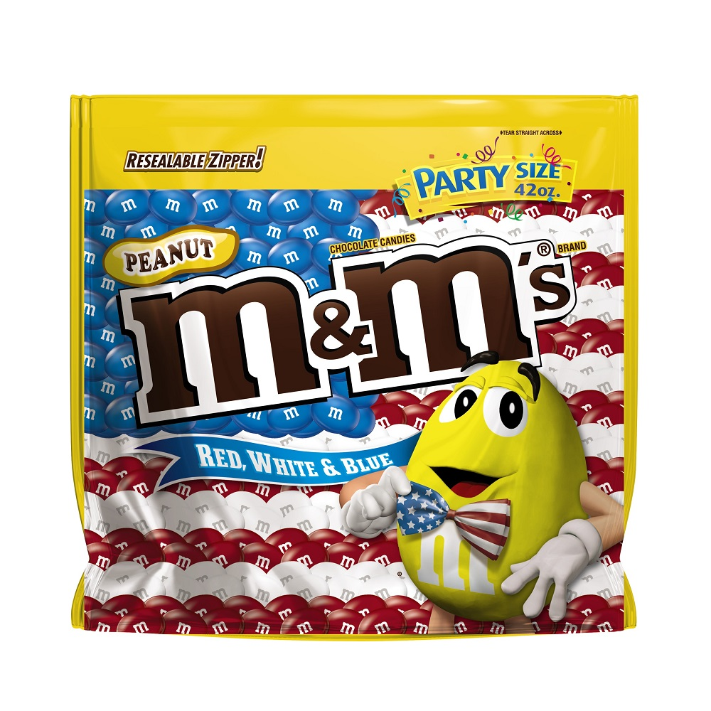 M&M's Red, White, & Blue Peanut Chocolate Candy Party Size Bag, 42 Oz.