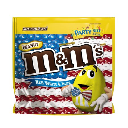 M&Ms Red, White, & Blue Peanut Chocolate Candy Party Size Bag, 42 Oz.