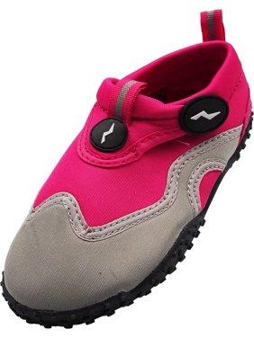 Norty Childrens Boys Girls Kids Skeletoe Beach Pool Slip On Aqua Sock Water Shoe, 40317 Black-Blue / 11MUSLittleKid