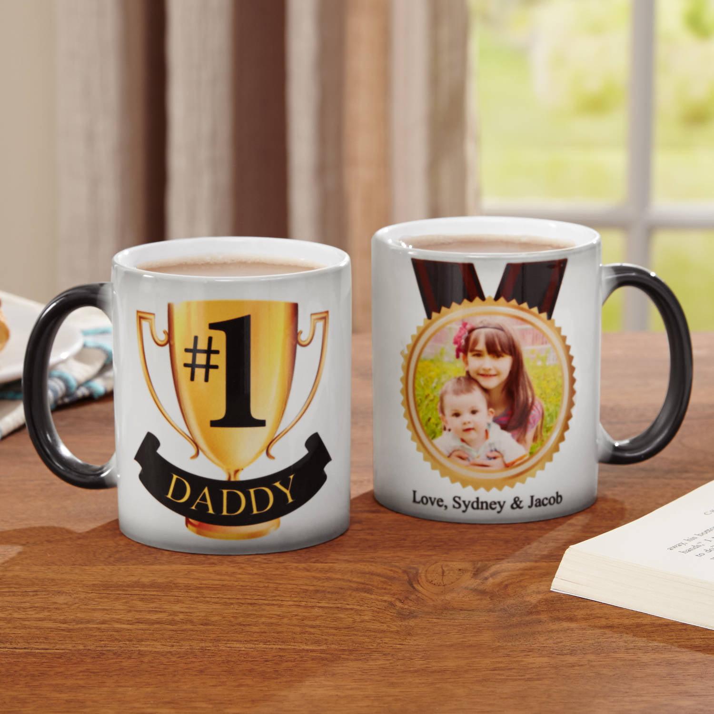 Personalized #1 Dad Photo Changing Coffee Mug, 11 oz