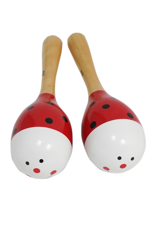D'Luca Kids 7.5 Inches Ladybug Wood Maracas by D'Luca