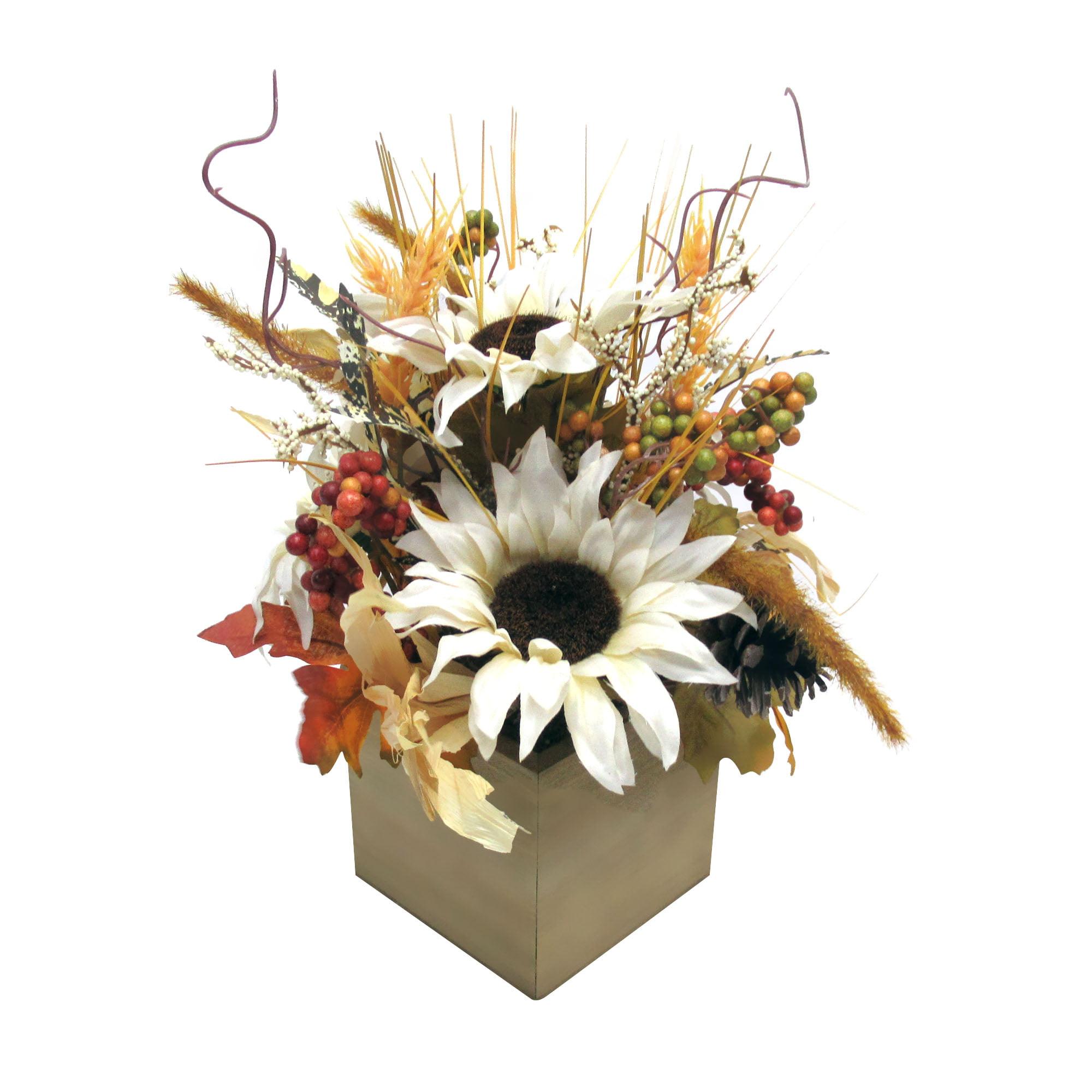 "Mainstays Harvest Faux Sunflower Foral Centerpiece, 9.5"" x 7"" x 13"" - Walmart.com"