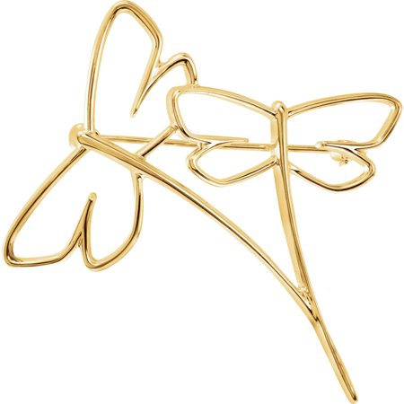 10k Yellow Gold Dragonfly Brooch (10k Brooch)