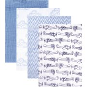 Hudson Baby Boy and Girl Muslin Swaddle Blankets, 4-Pack - Blue