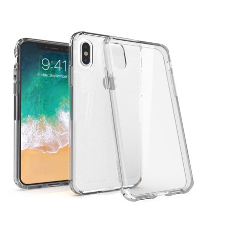 iPhone X Case Mirror Screen Protector Combo, by BasAcc Crystal PC/TPU Hybrid Phone Clip-on Hard Case Cover for Apple iPhone X - Clear (Bundle with Mirror Screen