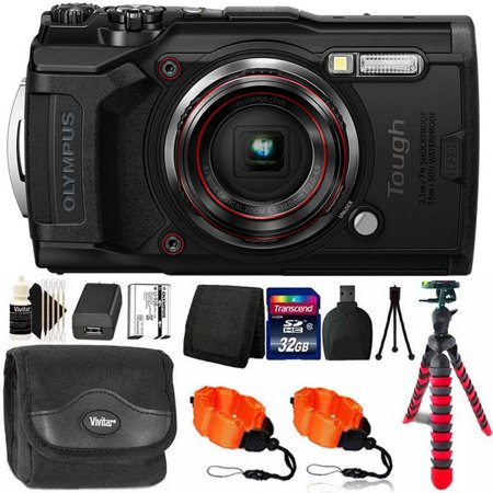 OLYMPUS Tough TG-6 12MP Waterproof W-Fi Digital Camera Black with 32GB Memory Card & Accessory Kit