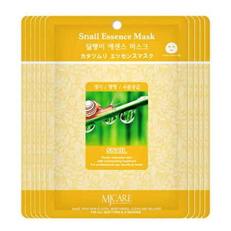 The Elixir Baauty Korean Collagen Essence Full Face Facial Mask Sheet, 20 Combo Pack, Snail Essence