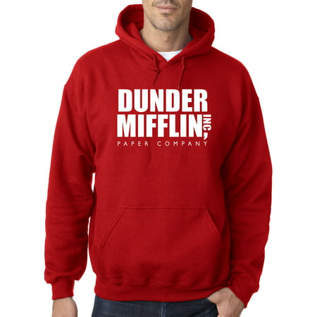 New Way 872 - Adult Hoodie Dunder Mifflin Inc Paper Company Office Logo Sweatshirt Small Red