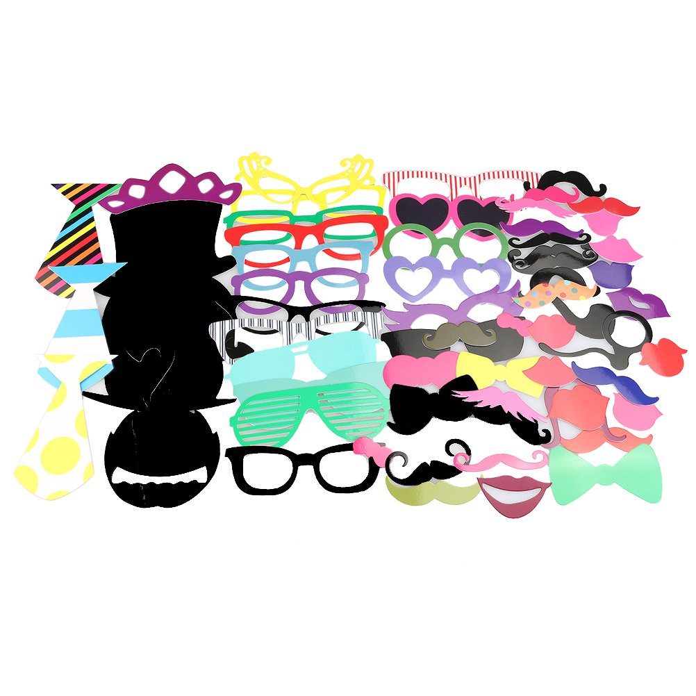 Funny Photo Booth Props Mustache Mask for Wedding / Party / Christmas / Birthday, 62pcs Pack