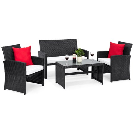 Best Choice Products 4-Piece Wicker Patio Furniture Set w/ Tempered Glass, 3 Sofas, Table, Cushioned Seats - Black All Weather Wicker 4 Piece