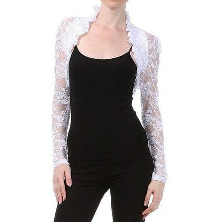 Imagenation Lace Cropped Long Sleeve Shrug Bolero, White, (Crop Bolero Shrug)
