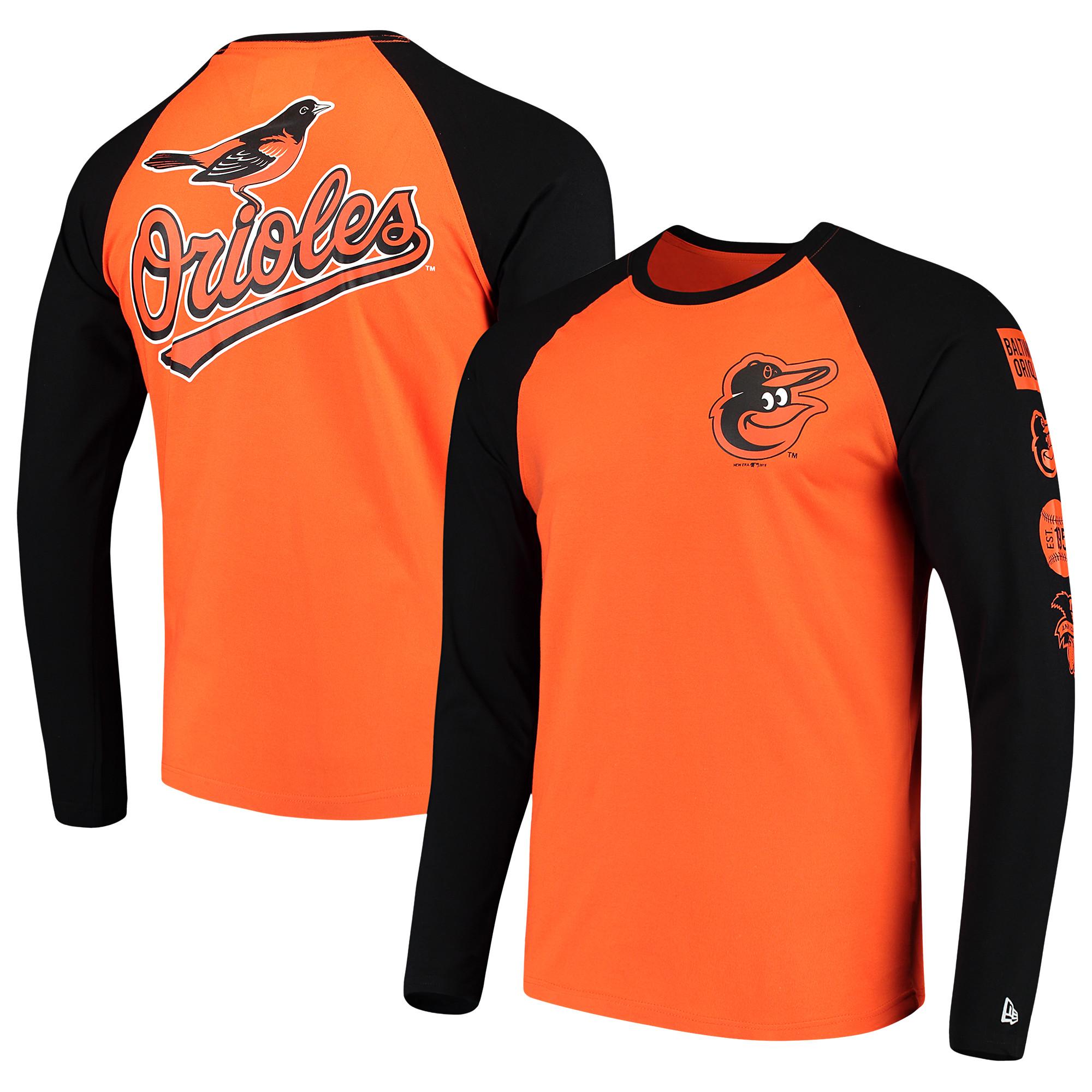 Baltimore Orioles New Era Raglan Long Sleeve T-Shirt - Orange/Black