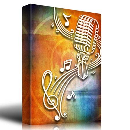 wall26 Microphone Surrounded by Music Notes on a Colorful Background - Canvas Art Home Decor - 12x18 inches