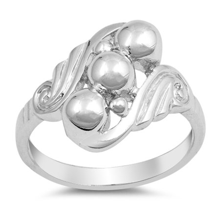 High Polish Ball Bead Filigree Swirl Ring .925 Sterling Silver Band Size 5