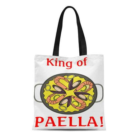 ASHLEIGH Canvas Tote Bag Fish King of Paella Spain Rice Reusable Handbag Shoulder Grocery Shopping
