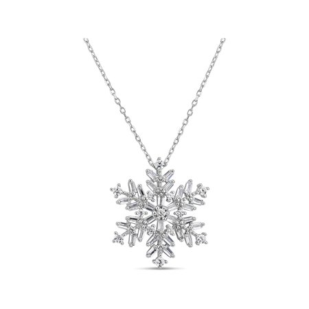 Cubic Zirconia Baguette and Round Sterling Silver Rhodium Plated Snowflake Necklace, 18