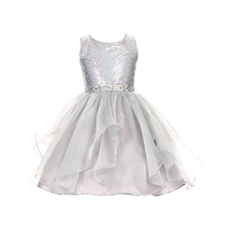 Girls Silver Sparkle Sequin Organza Rhinestone Occasion Dress - Girls Silver Dresses