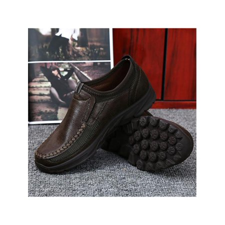 Gracosy Men 's Round Toe Slip On Casual Shoes Daily Microfiber Leather Shoes Colors:Camel/Brown/Grey
