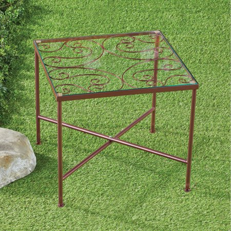 Scrolled Edge Glass Top Table - Glass Top Metal Scroll Garden Patio Accent Side Table