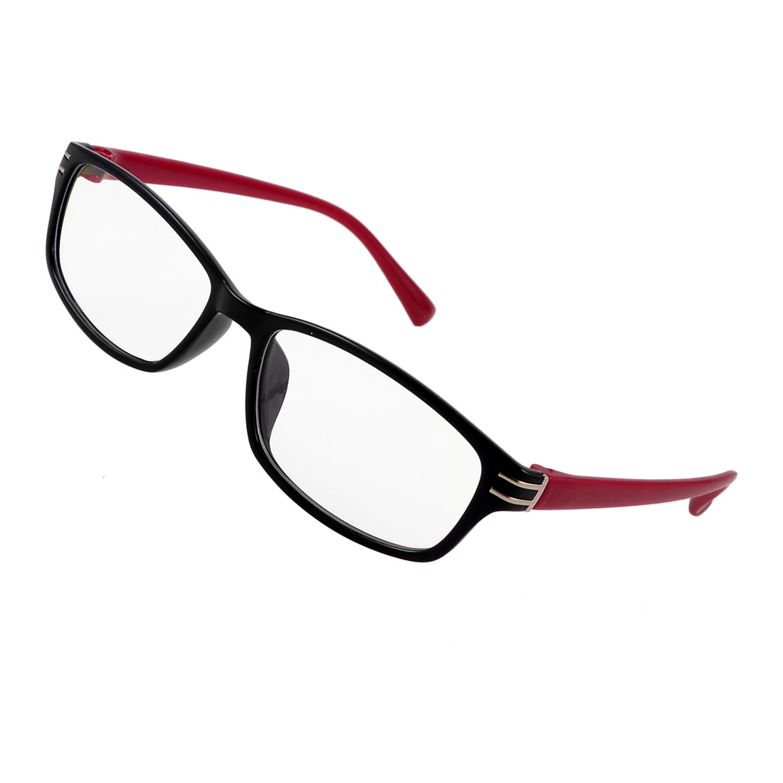 Woman Man Silver Tone Double Metal Bar Decor Red Arms MC Lens Plano Glasses