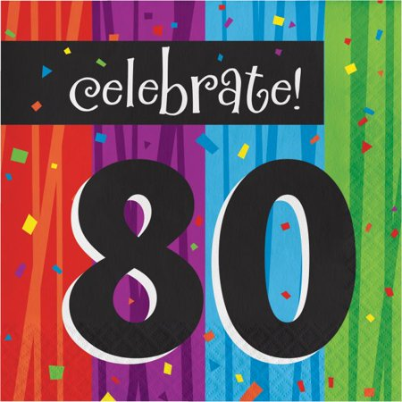 Party Creations Milestone Celebrations, Lunch Napkins, 80th, 16 Ct - 80th Birthday Celebrations