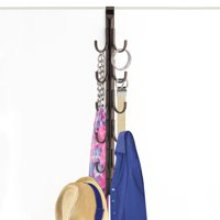 Lynk® Over Door Hook Rack Organizer - Scarf, Belt, Hat, Jewelry Organizer - Vertical 12 Hook Rack - Bronze
