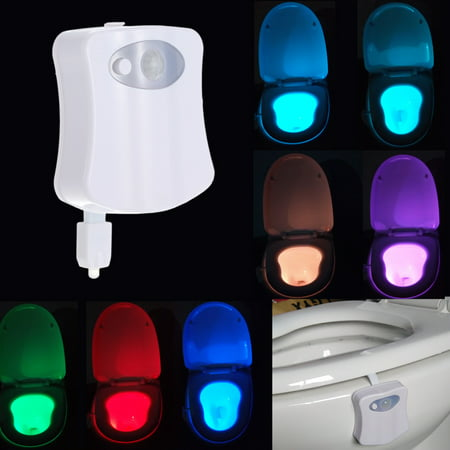 8 Colors LED Toilet Nightlight Motion Activated Light Sensitive Dusk to Dawn Battery-operated Lamp](Sound Sensitive Led Lights)
